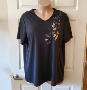 Avenue Embroidered Leaf Top